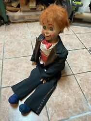Ventriloquist Dummy Red Hair And Freckles In Suit W/ Bow Tie - Eyes Move - Vintage