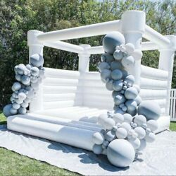 Pvc Inflatable Bounce House 100 Princess Castle Jumper White With Air Blower
