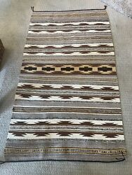 Vintage Navajo Blanket Rug Size 4 Ft 4inches Wide And 7 Ft 2 Inches Long