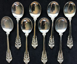 Set Eight 8 Sterling Silver Wallace Grand Baroque Round Bowl Soup Spoons Gumbo