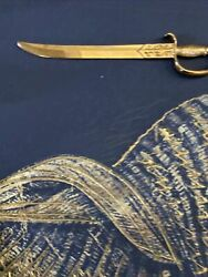Vintage Brass Sword Letter Opener Curved 7 Long With Some Etchings