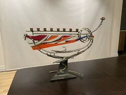 Gary Rosenthal Collection - Glass Menorah - Good Condition