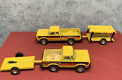 2 Vintage Nylint Metal Race Team Pick Up Truck With Trailers