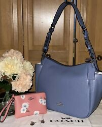 Nwt🌼coach Rori Leather Shoulder Bagperiwinkle Blue W/wristlet In Daisy🌼/pink