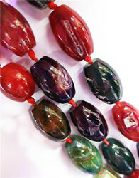 1 Strand 27x18mm Colorful Dragon Veins Agate Barrel Loose Beads 15.5inch Hh8508
