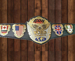 Ring Of Honor Wrestling Championship Leather Replica Title Belt Plated For Adult