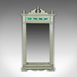 Large Painted Antique Wall Mirror Victorian Overmantel Pier Tiles C.1890