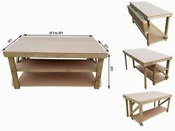 Workbench With Folding Mdf Top Wooden Industrial Garage Mobile Table With Wheels