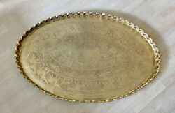 """41"""" Xl Solid Brass Etched Tray / Table Top / Vintage Scalloped Rim Mid Century"""