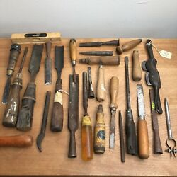 Antique Wood Handle Carving Chisels Lot Vintage - Buck Bros Rusty And More