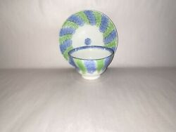 Ld3 Staffordshire Rainbow Spatter Green And Blue Cup And Saucer Ca. 1830