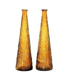 Vintage Set Of 2 Amber Empoli Glass Decanter Genie Bottle Italy No Stopper 15.5