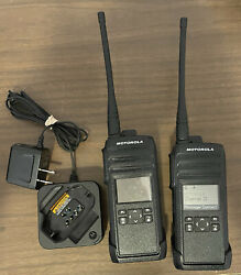 Motorola Dtr700 Digital Two Way Radio. Lot Of 2. With 1 Charger. Used. Black.