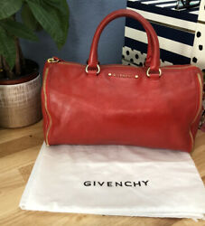 Vintage Givenchy Bright Cherry Red Leather Boston Satchel Bag With Zipper Detail