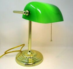 Bankers Desk Lamp Green Glass Shade Pull Chain 13in Tall Piano Task Light