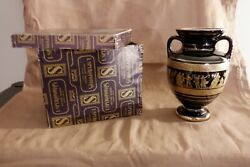 I. Spyropoulos Hand Painted 24k Gold Vase W 2 Handles, Made In Greece W Box