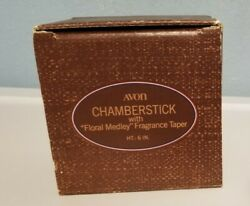 Avon American Heirloom Pewter Floral Medley Chamberstick Holder And Candle
