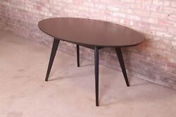 Jens Risom For Knoll Mid-century Modern Black Lacquered Dining Or Game Table