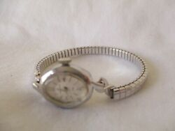 Helbros Wind Up Vintage Wristwatch Silver Tone Expansion Band Collectible
