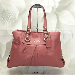 Coach Women#x27;s Ashley Carryall Shoulder Tote Handbag Large Pleated Leather Pink $114.99