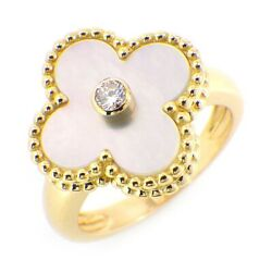 Auth And Ring Vintage Shell 1p Diamond 750yg 50 Us5.25