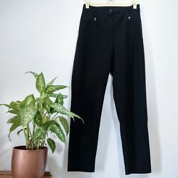 Vintage Size 12 Trousers Ladies Black High Waisted Stretchy Leggings 90s Y2k