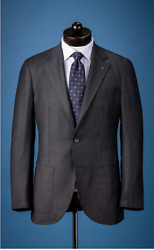 Nwt Spier And Mackay Brushed Textured Merino Wool Charcoal Gray Suit Size 36s Slim