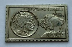 1973 Numistamp Medal Stamp 1913 Indian Buffalo 5 Cent Coin Plaque Mort Reed