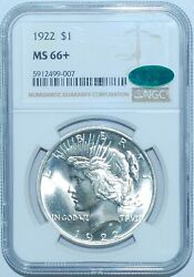 1922 P Ngc Ms66+ Cac Peace Silver Dollar