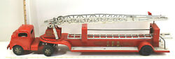 1950s Structo Toys S.f.d. Hydraulic Hook And Ladder Fire Truck Pressed Steel 34 L