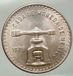 1979 Mexico Huge Medallic 4.1cm Silver Onza Old Mexican Coin Press Scales I92551