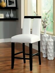 4pc Set Counter Height Chairs White Padded Leatherette Seat Back Key-hole Chairs