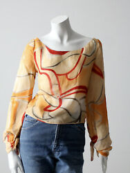 Vintage Valentino Abstract Swirl Print Sheer Blouse Size S