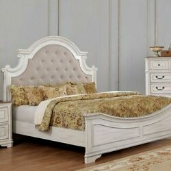 Glam Classic Queen Size Bed Bedroom Furniture Antique White Wash 1pc Bed