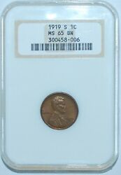 1919 S Ngc Ms65bn Lincoln Wheat Cent