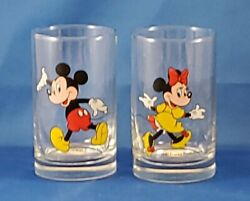 Vintage Disney Glasses Set Of 2 Mickey Mouse Minnie Mouse Small Juice Glass
