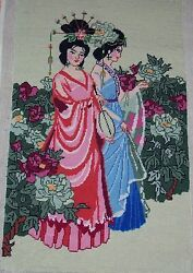 Huge Gorgeous 23 X15 Vintage Completed Finished Needlepoint Cute Geisha Girls