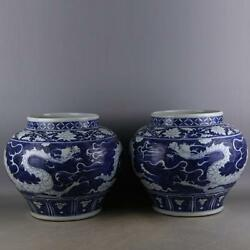 Chinese Old Pair Blue And White Dragon Pattern Porcelain Jars