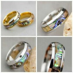 Wholesale 20-40pcs Men Women 8mm Stainless Steel Abalone Shell Silver Ring Rings