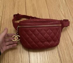 """Coco Mark Cc Vintage Matelasse Quilted Red Fanny Bum Bag Waist Bag 65 26"""""""