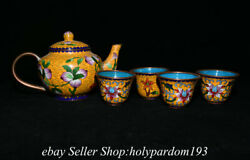 8.4 Old Chinese Copper Enamel Cloisonne Peach Pattern Tea-things Kettle Cup Set