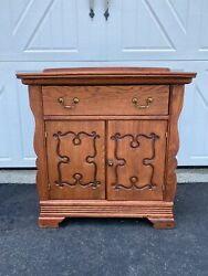 Vintage Oak Wash Stand, 1 Front Draw And 2 Scrolled Doors W/1 Shelf For Storage.