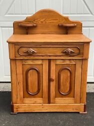 Antique Oak And Walnut Trim Wash Stand W/trimmed Doors And1 Drawer W/carved Handles
