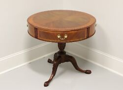 Henkel Harris Inlaid Banded Mahogany Round Drum Table W/ Ball In Claw Feet