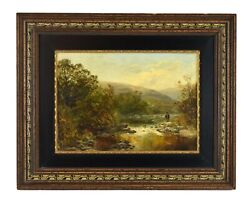 Circa 1900 Oil Painting Man Fly Fishing In Stream
