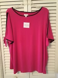 Kim Gravel Belle Hot Pink Color Tipping Tie Split Elbow Sleeves Tunic Sz. 3x