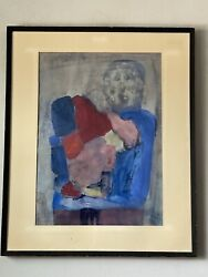 Helen Nelson Modern Abstract Watercolor Painting Old 1960 Vintage Expressionist