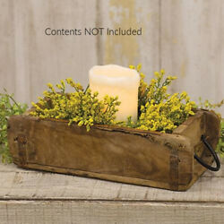 New Primitive Antique Brick Mold Aged Wood Drawer Box Candle Holder Tray Planter