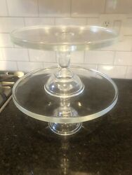 """Martha By Mail Le Smith Clear Glass 12 And 10"""" Stackable Cake Stand Pedestal Set"""