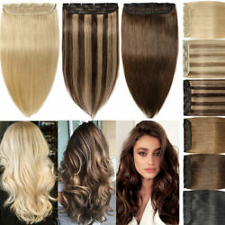 Clip In One Piece Remy Human Hair Extensions Thick Weft Straight Highlight Cheap